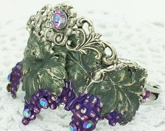 Wine Theme Handmade Bracelet ~ Layers of Grapes and leaves ~ Rhinestones, Filigree, Purple and Green ~ Gorgeous!