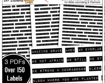 Printable Christian Words  and Phrases for Bible Journaling and Faith Planners Over 150 DIY Stickers (print on sticker paper)