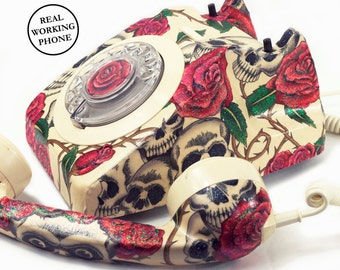 Skull Art Floral Print Vintage Rotary Phone, Fully Working - Unique Home Decor