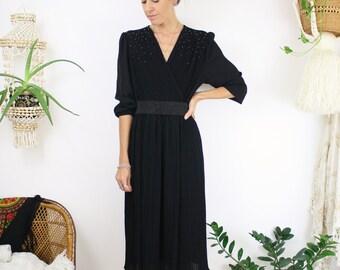 Vintage Black Evening Dress, Fine pleated embellished 70s 80s Cocktail dress, Medium 4015