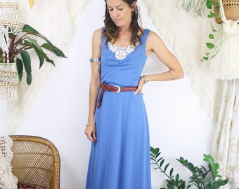 70s maxi dress w/ crochet bib, Vintage Boho Festival dress, XS Small 3072