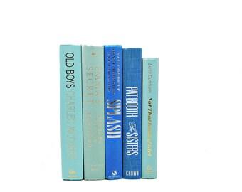 Sea Blue Green Books, Ocean Green Decorative Books, Wedding Centerpiece, Book Lover, Old Book Set, Antique Book Collection, HOme Book Decor
