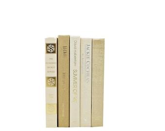 Beige Decorative Books, White Book Set, WEdding Decoration, Brown Book Collection, Centerpiece, Old Book Decor, Bookshelf Decor, HOme Decor