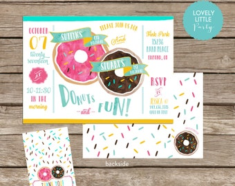 Donut Dual Birthday Invitation Kit Boy Girl - Printable or Printed Invite AND Thank You Card included