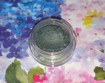 Jeweled Basilisk - blackened green with pink sparkles mineral eyeshadow 5 gram jar VEGAN