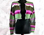 Bolero Shrug, Upcycled Sweater, Striped Shrug, Upcycled Clothing, Long Sleeve Shrug, Boho Sweater, OOAK Shrug, Winter Shrug, Gift for Her