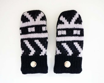 Black and White Pattern Felted Wool Mittens