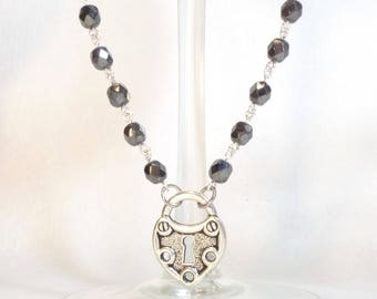 Hematite Crystal Rosary Bead Style Necklace with Silver Heart Lock Charm