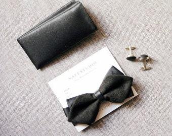 Mens Bowtie Bow Tie for Men - Black Bow Tie Wool Bow Tie - Pre-tied - Men Baby Boy Toddler Child - Wedding Groom Bow Tie Bow Ties