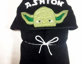 Yoda Hooded Bath Towel, Hooded Kids Towel, Star Wars Party, Star Wars Yoda, Star Wars, Personalized Towel, Star Wars Fan,Yoda, Embroidered