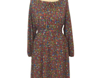 vintage 1970s floral peasant dress / Christine von Lumbe / off shoulder / belted dress / boho bohemian / women's vintage dress / tag size 8