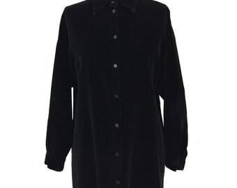 vintage 1980s MICHAEL KORS velvet tunic blouse / black / Henri Bendel / oversize blouse / women's vintage blouse / tag size small