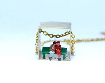 Lovers Necklace, Brass Jewelry, couple, love, square pendant, kawaii, cube, diorama, boyfriends
