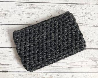 Crochet Cowl, Granite Crocheted Scarf, Crochet Infinity Scarf, Chunky Winter Scarf, Ready to ship