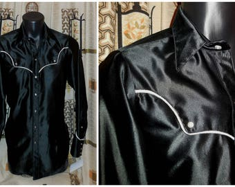 Vintage Men's 1970s Shirt Black Rockmount Western Shirt Snap Front Polyester Cowboy Rockabilly Glam S M chest to 36 in AS IS