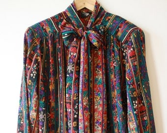 Vintage Ethnic Multicolored Secretary Blouse Womens L - XL Holiday Gift for Her