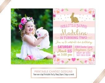 Bunny Birthday Invitation, Easter Birthday Invitation, Gold and Pink Birthday Invite, Bunny Party