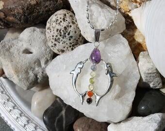 Reiki Attuned Silver Chakra Dolphin Pendant Necklace
