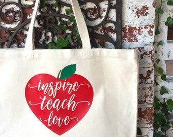Inspire Teach Love Large Canvas Tote Bag - Teacher's Heart Shoulder Tote - Teacher Reusable Shopping Bag - Book Bag - Teacher Gift Idea