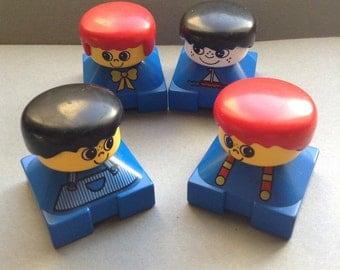 Vintage Lego Duplo figures, Duplo shorties, collectibles, 4 figures, 1 girl, 3 boys, original, made in U.S.A., Greece