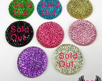 25mm Sparkly Fake Rhinestone Round Cabochons Resin Flatback Decoden Cabochons ( 10 pieces )