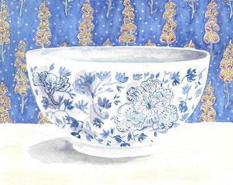 Art Print of Original Watercolor Painting -- Blue China Bowl 2