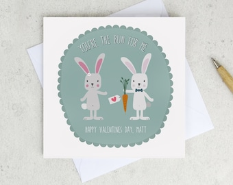 Rabbits Valentine Card - valentine card for boyfriend - personalised valentine card - bunnies - you're the bun for me