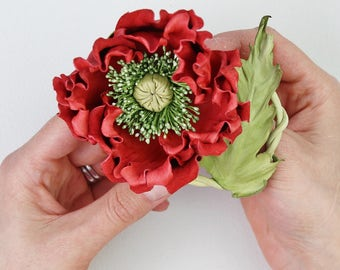 Red leather flower brooch, leather poppy, red poppy, leather anniversary, leather corsage, poppy brooch, poppy corsage, poppy pin