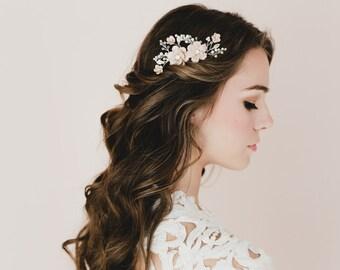 Nude/Beige Cherry Blossom/Sakura Bridal Hair Comb. Bridal Hair Comb, Bridal headpieces. MEGAN