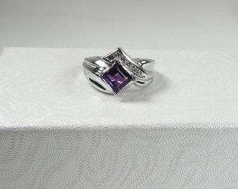 White Gold Diamond Amethyst and Diamond Ring; Amethyst and Diamond Ring in Art Deco Type Style; Cocktail Ring; February Birthstone Ring