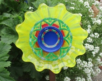 Put on your happy face! Outdoor Garden Decoration - hand painted Glass Flower Garden Art - Yellow / Red / Blue / Green - upcycled glass art