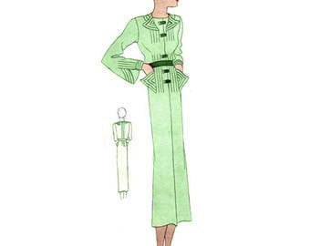 Plus Size (or any size) Vintage 1934 Dress Sewing Pattern - PDF - Pattern No 1527 Dolly