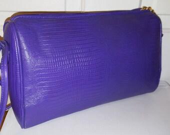 PURPLE CROC PURSE // 80's Austin Deigns Faux Moc Croc Leather Shoulder Bag 90's Simple Classic