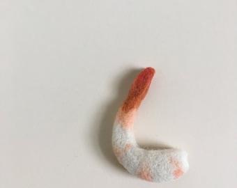 Needle Felted Shrimp // Felted Shrimp Magnet // Shrimp Magnet