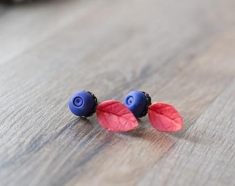 Blackberry earrings - blackberry jewelry - leaf earrings - berry earrings - berry post earrings - woodland jewelry - rustic jewelry, garden