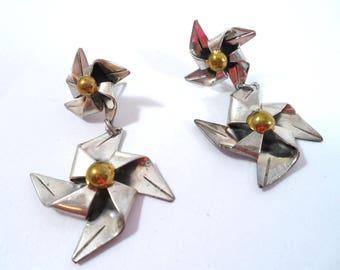 Vintage Sterling Silver Pinwheel Earrings Made In Mexico Sterling Silver Pierced Earrings Vintage Figural Earrings Dangle Drop Earrings