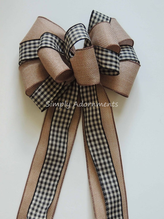 Country Gingham Black Check Wired Ribbon Wreath Bow Cabin Burlap Black Check Bow Rustic Black Tan Gingham Check Bow Cabin Swag Bow Gift Bow