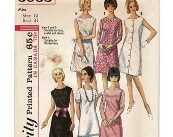 Simplicity 5953 Misses A Line Dress Pattern, EASY Womens Sewing Pattern Size 10 Bust 31 Vintage 1960s Complete