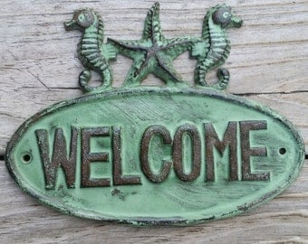 Nautical Welcome Sign for Front Door - Beach House Decor - Sea Shells Home Decor - Cast Iron Sign - Housewarming Gift - Nautical Home Decor