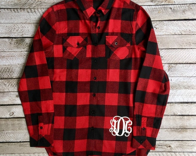 Monogrammed Flannel Shirts, Monogrammed Flannel Button Down, Monogrammed Shirt, Bridesmaid Gifts, Plaid Flannel Tunic Shirt, Buffalo Plaid