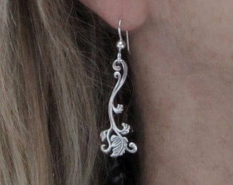 Sterling Vine Earrings Art Nouveau earrings, handmade in USA