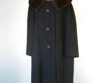 USE CODE COATS30OFF /Black Dress Coat / Vtg 50s / Florence Travis Wool Black Coat Mink Collar / Winter Coat