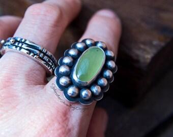 Garnet silver ring, green garnet statement ring, rare hydrogrossular garnet silver ring, handmade, OOAK, UK hallmark, size Q, size 8 1/4