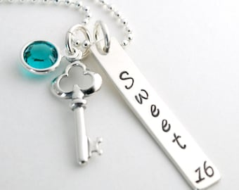 Sweet 16 Necklace with Sterling Silver Key Charm - Personalized Hand Stamped Necklace for Sweet 16 Birthday