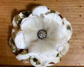 French Cottage Fabric Flower Pin/Brooch