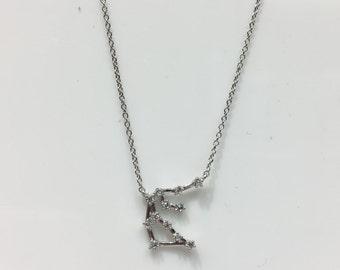 Aquarius Constellation Necklaces in Silver and Cubic Zirconias