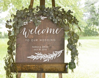 Welcome Wedding Sign, Wood Wedding Welcome Sign, Wooden Welcome Sign, Wood Wedding Signs, Custom Wedding Signs, Painted Wedding Sign
