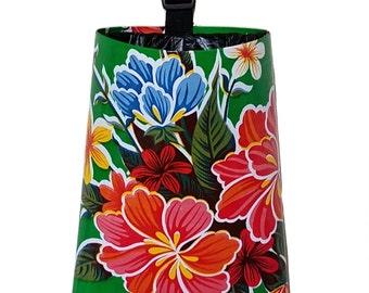 Car Trash Bag  - Oil Cloth Tropical Flowers - Green