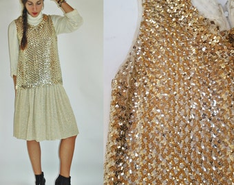 1960s Gold Sequin Semi Sheer Knit Sleeveless Top