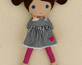 Reserved for Denise - Fabric Doll Rag Doll Brown Haired Girl in Black and White Striped Dress with Floral Collar and Pink Leggings